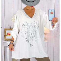 Tunique grande taille bi-matière délavée blanc LULY Tunique femme grande taille