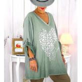 Tunique grande taille bi-matière délavée kaki LULY Tunique femme grande taille
