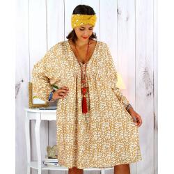 Robe tunique grande taille liberty bohème camel JANNA Robe tunique femme grande taille