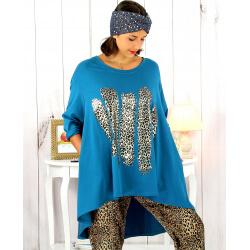 Tunique t-shirt grande taille asymétrique canard BOBBY Tee shirt tunique femme grande taille