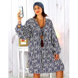 Robe tunique grande taille liberty bohème bleu marine JANNA Robe tunique femme grande taille