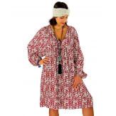 Robe tunique grande taille liberty bohème bordeaux JANNA Robe tunique femme grande taille