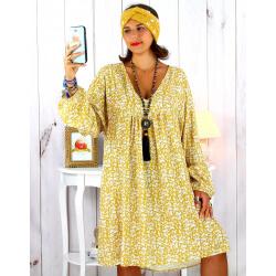 Robe tunique grande taille liberty bohème moutarde JANNA Robe tunique femme grande taille