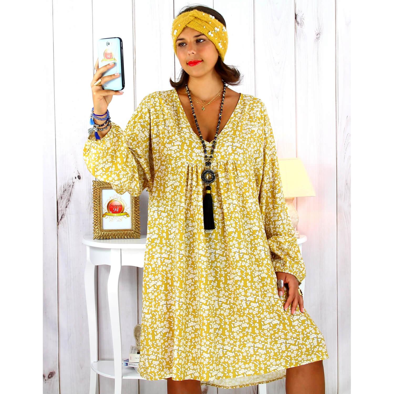 Robe Tunique Grande Taille Boheme Liberty Moutarde Janna Charleselie94