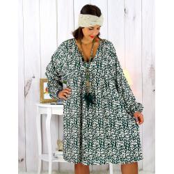 Robe tunique grande taille liberty bohème vert JANNA Robe tunique femme grande taille