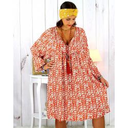 Robe tunique grande taille liberty bohème rouille JANNA Robe tunique femme grande taille