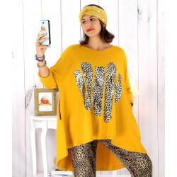 Tunique t-shirt grande taille asymétrique moutarde BOBBY Tee shirt tunique femme grande taille