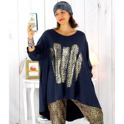 Tunique t-shirt grande taille asymétrique bleu marine BOBBY Tee shirt tunique femme grande taille