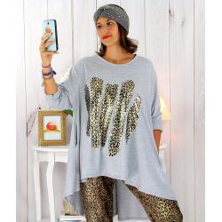 Tunique t-shirt grande taille asymétrique gris BOBBY Tee shirt tunique femme grande taille