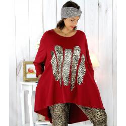 Tunique t-shirt grande taille asymétrique bordeaux BOBBY Tee shirt tunique femme grande taille