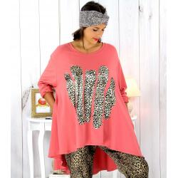 Tunique t-shirt grande taille asymétrique corail BOBBY Tee shirt tunique femme grande taille