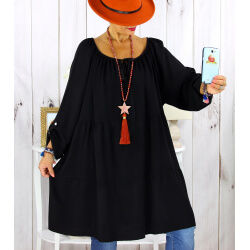 Robe tunique grande taille dentelle bohème noire CLUB Robe tunique femme grande taille