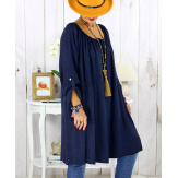Robe tunique grande taille dentelle bohème marine CLUB Robe tunique femme grande taille