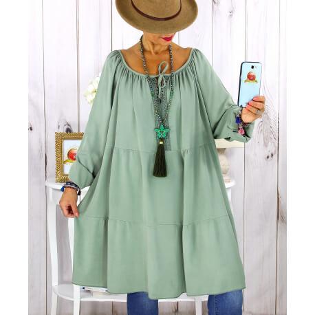 Robe tunique grande taille dentelle bohème kaki CLUB Robe tunique femme grande taille