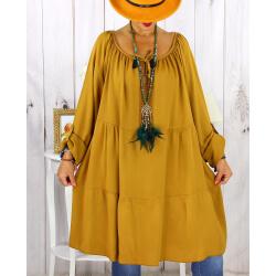 Robe tunique grande taille dentelle bohème moutarde CLUB Robe tunique femme grande taille