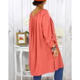 Robe tunique grande taille dentelle bohème corail CLUB Robe tunique femme grande taille