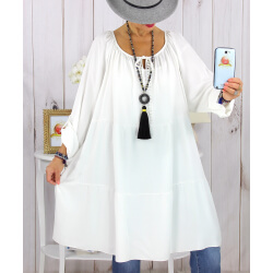 Robe tunique grande taille dentelle bohème blanche CLUB Robe tunique femme grande taille