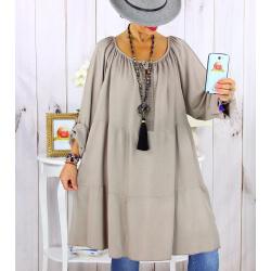Robe tunique grande taille dentelle bohème beige taupe CLUB Robe tunique femme grande taille