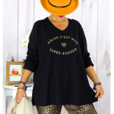 T shirt tunique femme grande taille coton noir CIRCUS Tee shirt tunique femme grande taille