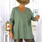 T shirt tunique femme grande taille coton kaki CIRCUS Tee shirt tunique femme grande taille