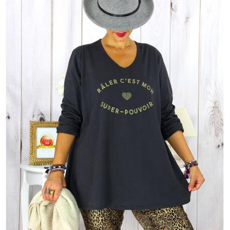 T shirt tunique femme grande taille coton gris CIRCUS Tee shirt tunique femme grande taille