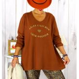T shirt tunique femme grande taille coton brique CIRCUS Tee shirt tunique femme grande taille