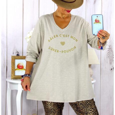 T shirt tunique femme grande taille coton beige CIRCUS Tee shirt tunique femme grande taille