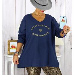 T shirt tunique femme grande taille coton marine CIRCUS Tee shirt tunique femme grande taille