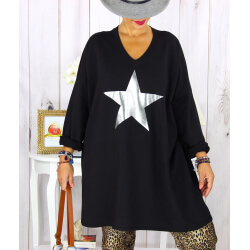 Tunique longue sweat grande taille étoile noire YASMINE Tunique femme grande taille