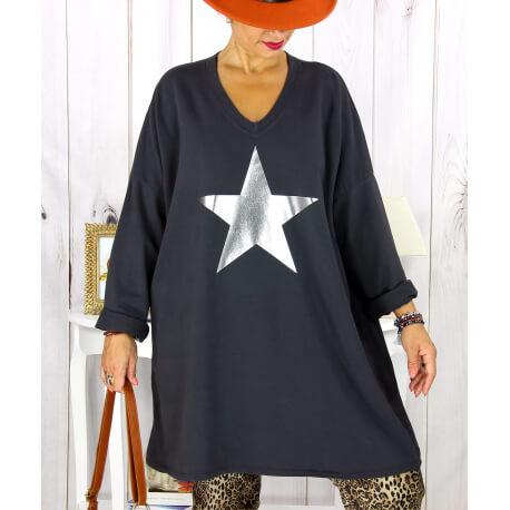 Tunique longue sweat grande taille étoile gris YASMINE Tunique femme grande taille