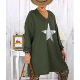 Tunique longue sweat grande taille étoile kaki YASMINE Tunique femme grande taille