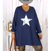 Tunique longue sweat grande taille étoile marine YASMINE Tunique femme grande taille