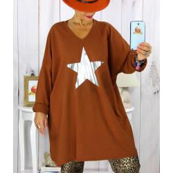 Tunique longue sweat grande taille étoile brique YASMINE Tunique femme grande taille