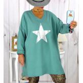 Tunique longue sweat grande taille étoile Jade YASMINE Tunique femme grande taille