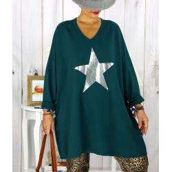 Tunique longue sweat grande taille étoile vert YASMINE Tunique femme grande taille