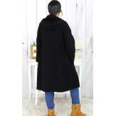 Veste longue capuche sweat grande taille noire HARLEM Veste femme grande taille