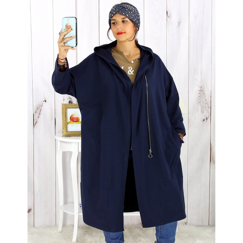 veste longue à capuche femme point fantaisie