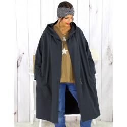 Veste longue capuche sweat grande taille gris HARLEM Veste femme grande taille
