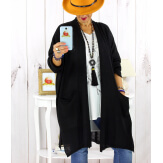 Gilet long poches femme grande taille coton noir STREET Gilet femme grande taille