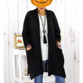 Gilet long poches grande taille coton noir STREET Gilet femme grande taille