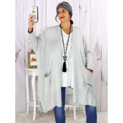 Gilet long poches grande taille coton gris STREET Gilet femme grande taille