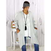 Gilet long poches grande taille coton gris STREET Gilet femme grande taille