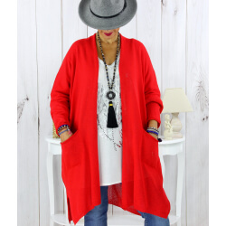 Gilet long poches grande taille coton Rouge STREET Gilet femme grande taille