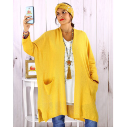 Gilet long poches grande taille coton Moutarde STREET Gilet femme grande taille