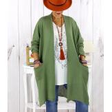 Gilet long poches grande taille coton kaki STREET Gilet femme grande taille