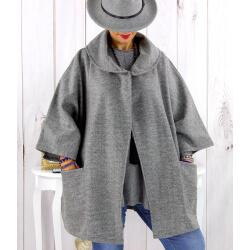 Cape veste laine femme grande taille gris HORIZON Cape femme grande taille