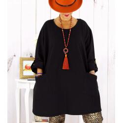 Tunique longue sweat femme grande taille noire MABILLON Tunique femme grande taille