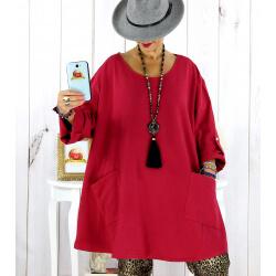 Tunique longue sweat femme grande taille bordeaux MABILLON Tunique femme grande taille