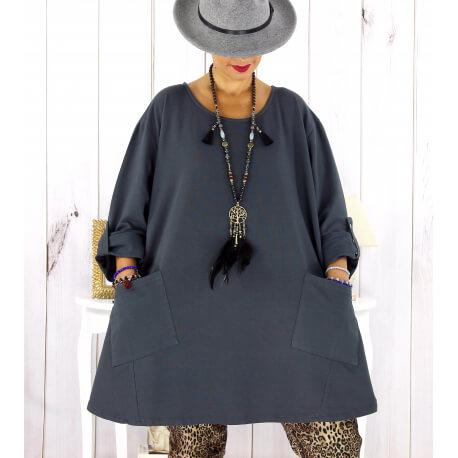 Tunique longue sweat femme grande taille gris MABILLON Tunique femme grande taille