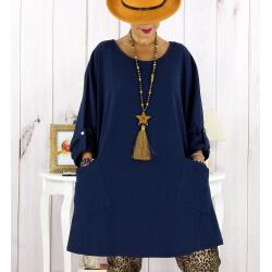 Tunique longue sweat femme grande taille bleu marine MABILLON Tunique femme grande taille